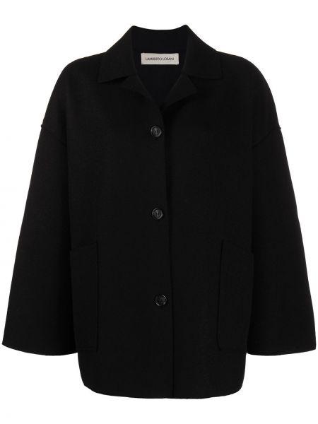 Кашемировое черное длинное пальто двустороннее на пуговицах Lamberto Losani