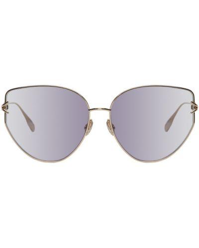 Кожаные солнцезащитные очки круглые золотые Dior