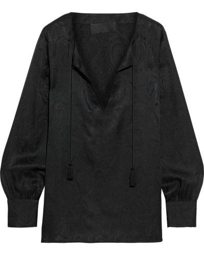 Шелковая черная блузка на пуговицах Nili Lotan