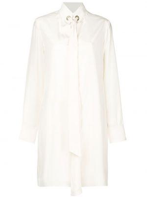 Biała złota sukienka mini z długimi rękawami Chloe