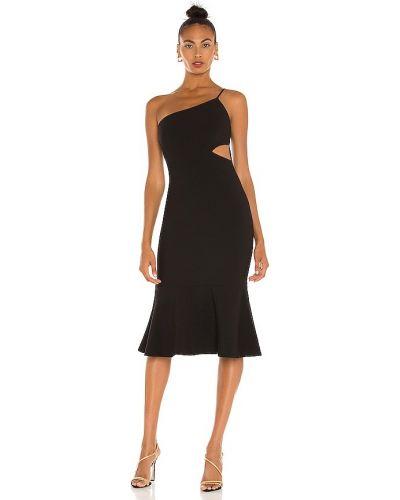 Трикотажное черное платье миди на молнии Likely