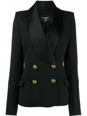 Сатиновый черный пиджак с карманами на пуговицах Balmain