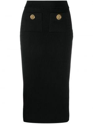 Черная прямая с завышенной талией юбка миди Balmain
