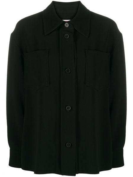 С рукавами черная классическая рубашка с воротником на пуговицах Alberto Biani