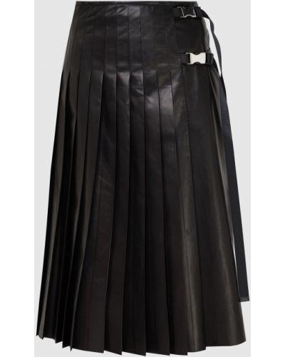 Черная кожаная юбка миди Prada