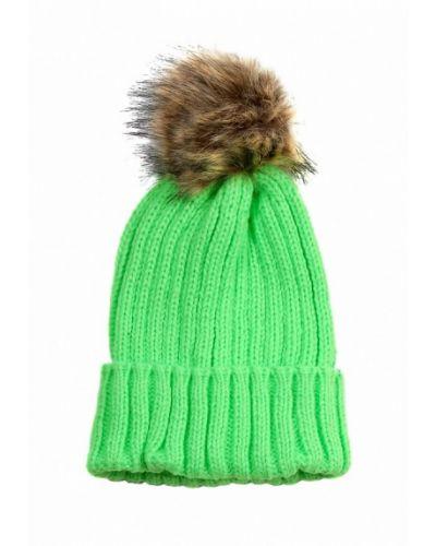 Зеленая шапка с помпоном Grezzo