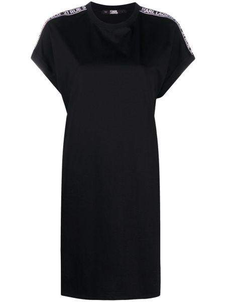 Черное платье мини с вырезом с короткими рукавами круглое Karl Lagerfeld
