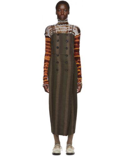 Коричневое восточное платье двубортное без рукавов Asai