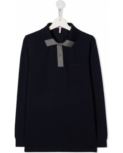 Синяя с рукавами рубашка с воротником Sun 68