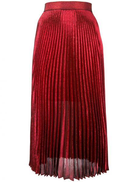 Красная шелковая с завышенной талией юбка миди на молнии Christopher Kane