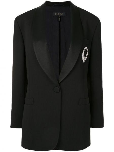 Черная куртка на пуговицах с лацканами с карманами Escada