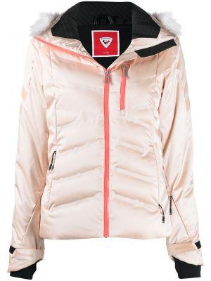 Розовая длинная куртка с капюшоном из искусственного меха Rossignol