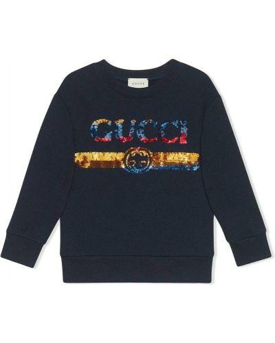 Толстовка синяя Gucci Kids