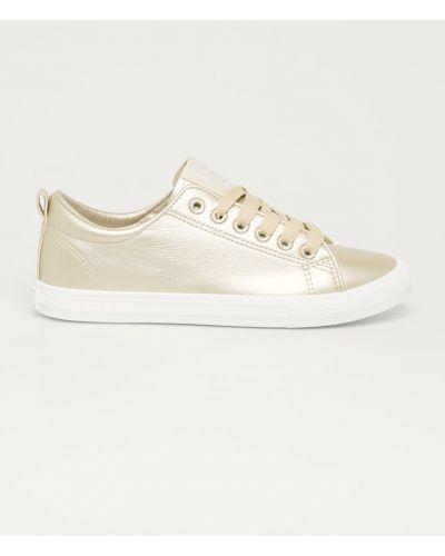 Żółte złote sneakersy sznurowane Big Star