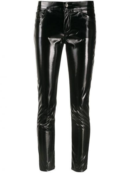 Лаковые черные брюки узкого кроя с потайной застежкой Laneus