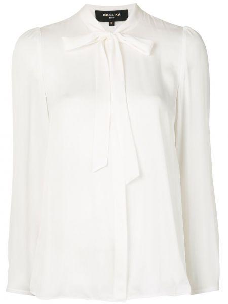 Шелковая прямая блузка с длинным рукавом с бантом на пуговицах Paule Ka