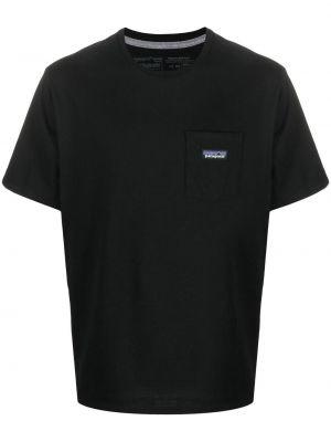 Прямая хлопковая черная футболка Patagonia