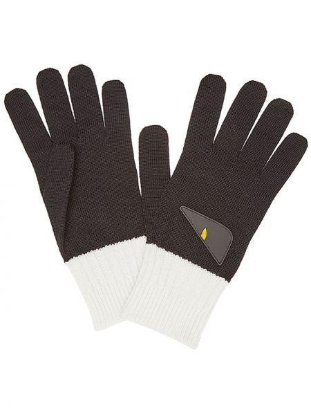 Prążkowane czarne rękawiczki moherowe Fendi
