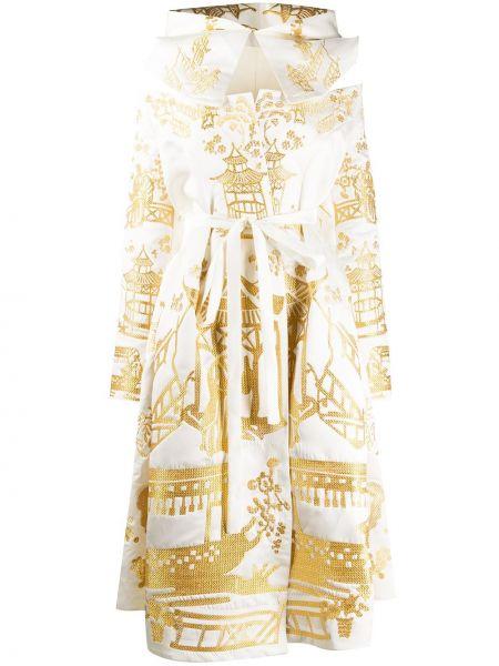 Расклешенное платье с вышивкой с капюшоном металлическое Yuliya Magdych