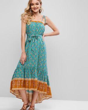 Платье с поясом с завышенной талией с цветочным принтом Zaful