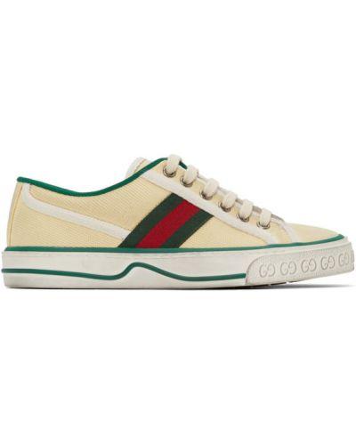 Biały brezentowy sneakersy na sznurowadłach okrągły nos Gucci