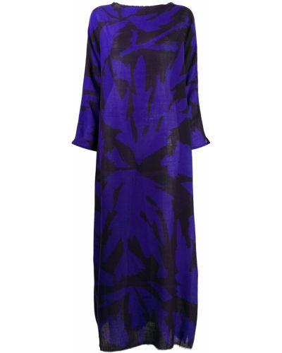Шерстяное синее платье с рукавами с вырезом круглое Daniela Gregis