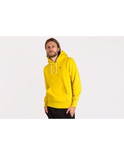 Żółta bluza z kapturem z haftem Champion