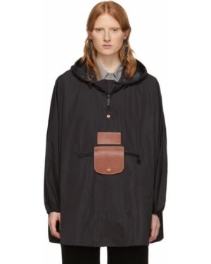 Кожаная куртка с капюшоном черная Dheygere