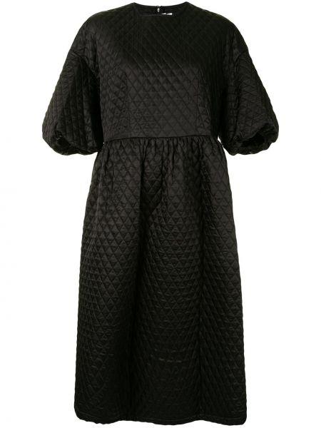 Стеганое черное платье мини с вырезом круглое Comme Des Garçons Noir Kei Ninomiya