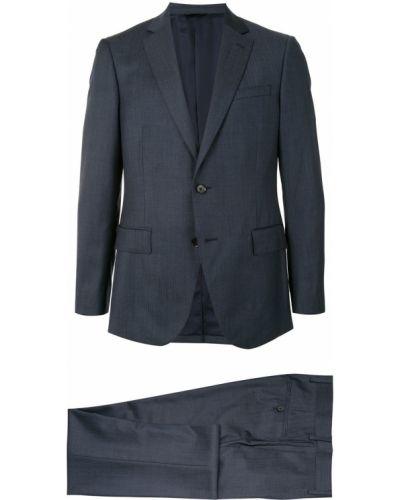 Синий классический костюм классический с лацканами на пуговицах D'urban