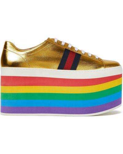 Sneakersy na platformie skorzane sznurowane Gucci