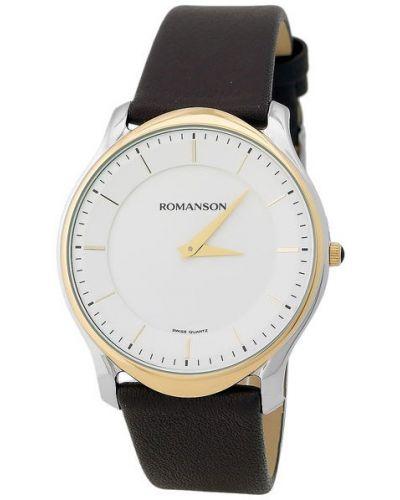 Часы водонепроницаемые с кожаным ремешком классические Romanson