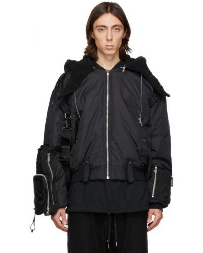 Czarna kurtka z kapturem z nylonu Blackmerle