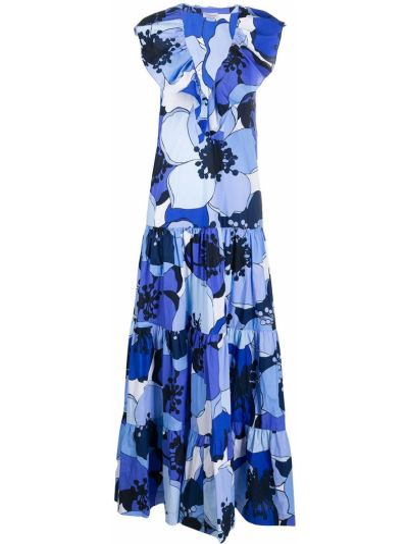 Синее платье макси со вставками с V-образным вырезом без рукавов By Malene Birger