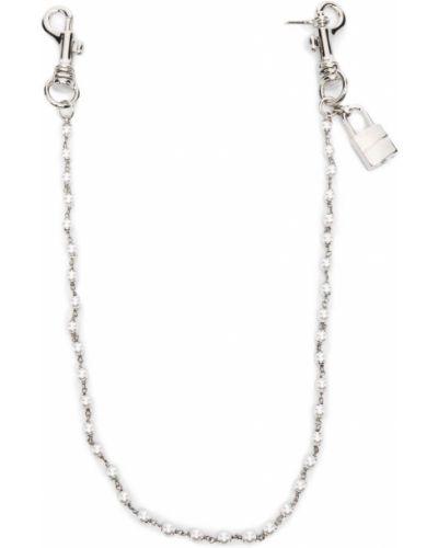 Серебряная цепочка с жемчугом с поясом Dsquared2