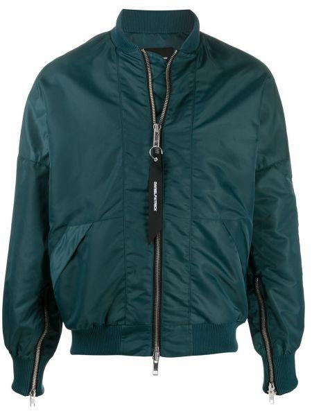 Zielona długa kurtka z nylonu z długimi rękawami Daniel Patrick