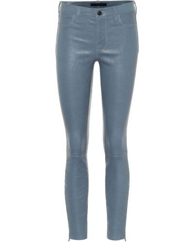 Синие кожаные мягкие брюки скинни J Brand