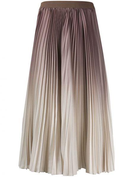 Коричневая плиссированная юбка миди в рубчик Agnona