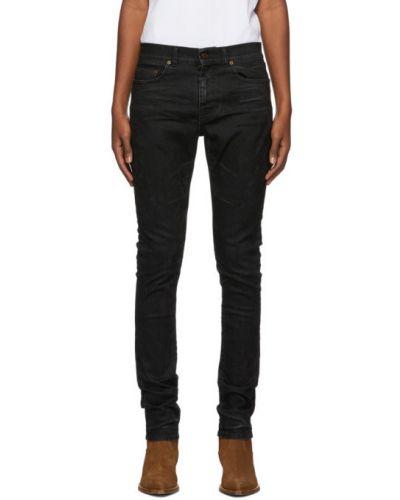 Skórzany czarny obcisłe dżinsy z kieszeniami chudy Saint Laurent