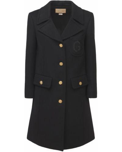 Черное пальто на пуговицах Gucci