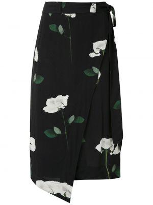 Черная с завышенной талией юбка с запахом из вискозы Osklen