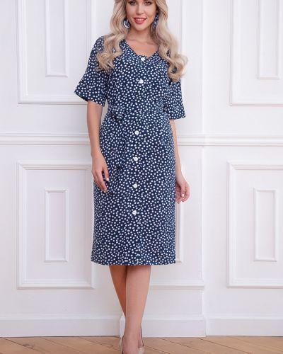 Платье мини на пуговицах с манжетами с вырезом из вискозы Bellovera