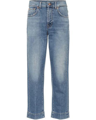 Классические ватные хлопковые синие прямые джинсы 7 For All Mankind