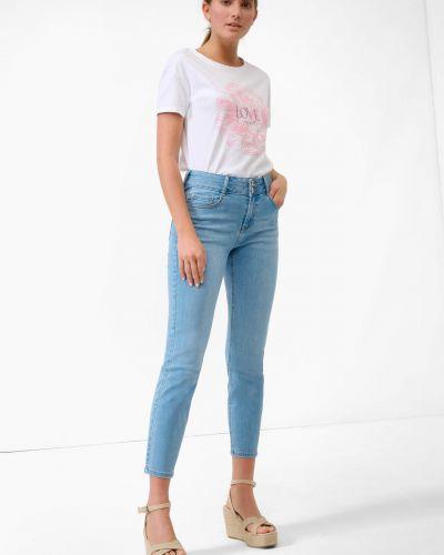 Niebieskie jeansy zapinane na guziki bawełniane Orsay