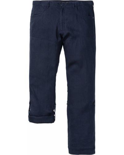 Темно-синие льняные прямые брюки с карманами новогодние Bonprix