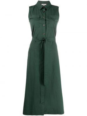 Зеленое платье-рубашка без рукавов с воротником Antonelli