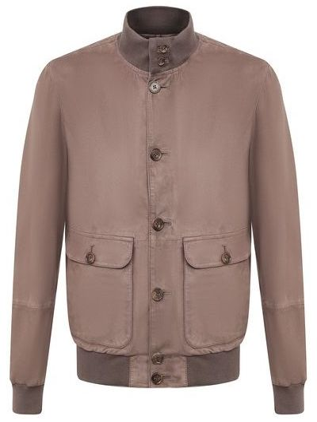 Замшевая кожаная куртка - серая Andrea Campagna