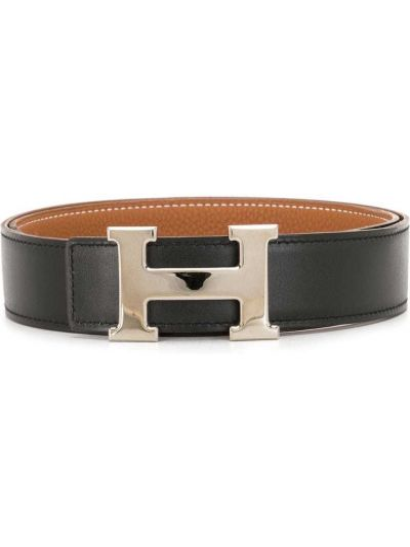 Черный кожаный ремень с пряжкой Hermès