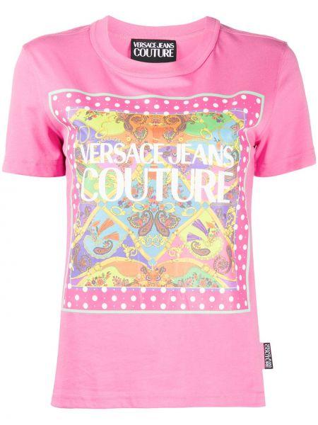 Ватная хлопковая розовая джинсовая рубашка с короткими рукавами Versace Jeans Couture