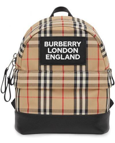 Коричневый кожаный рюкзак с нашивками Burberry Kids